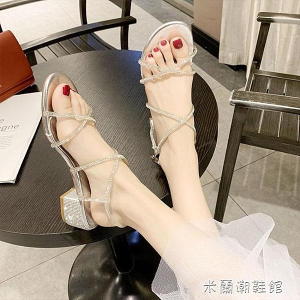 羅馬涼鞋女新款夏季網紅百搭粗跟中跟一字帶水鉆仙女風高跟鞋 快速出貨