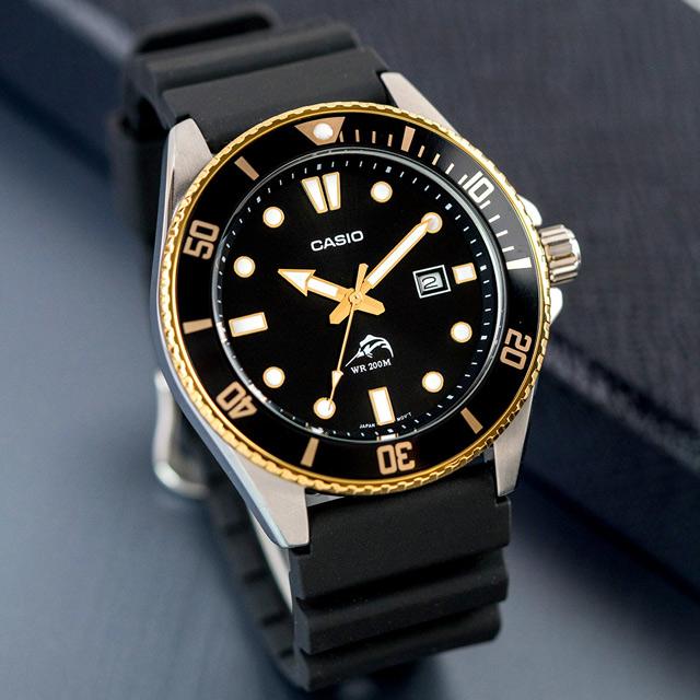 【CASIO 卡西歐】槍魚系列 深海潛將橡膠潛水錶/黑x金框(MDV-106G-1AVCF)