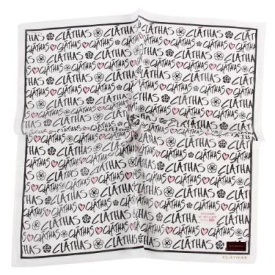 CLATHAS經典燙金LOGO滿版字母帕巾-白色