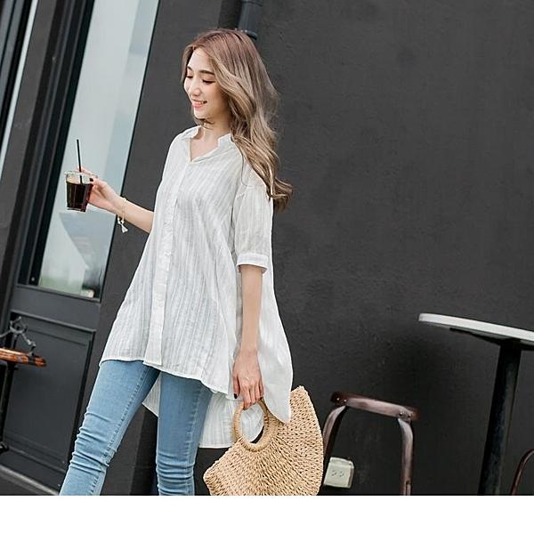 《EA2296-》高含棉直條紋前短後長七分袖襯衫罩衫 OB嚴選