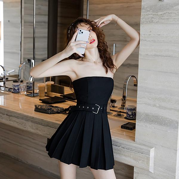 出清388 韓國風性感短款百褶經典a字高腰無袖洋裝