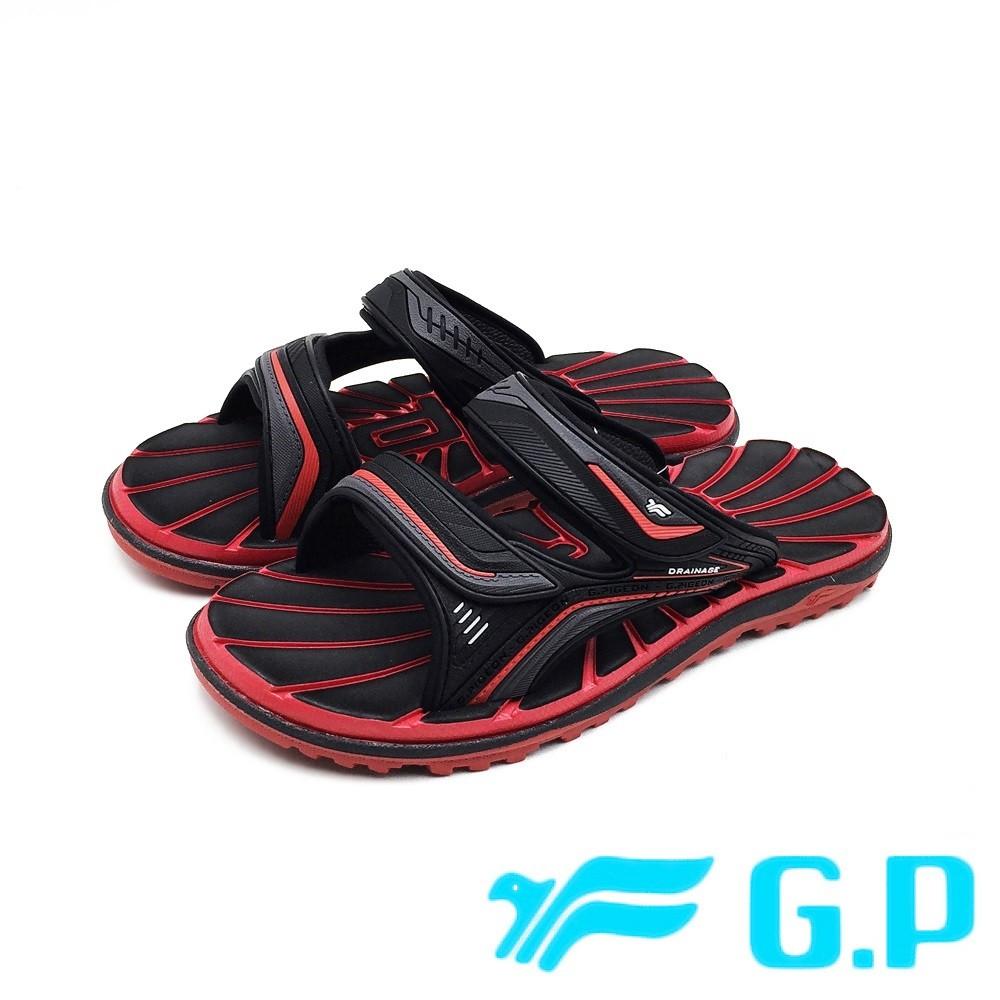 G.P (男女共用款)中性休閒舒適雙帶拖鞋 -黑紅 (另有黑、藍)
