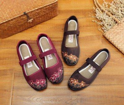 老北京布鞋女網鞋中老年老人媽媽網面透氣鞋奶奶老年人鞋女夏平跟