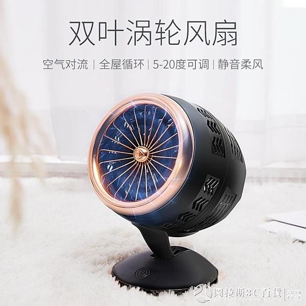 空氣循環扇對流扇USB充電迷你小風扇便攜式渦輪空氣搖頭廣角送風 圖拉斯3C百貨
