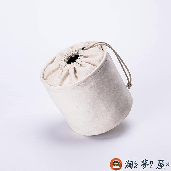 內袋包女帆布文藝水桶收納包迷你內膽包簡約【淘夢屋】