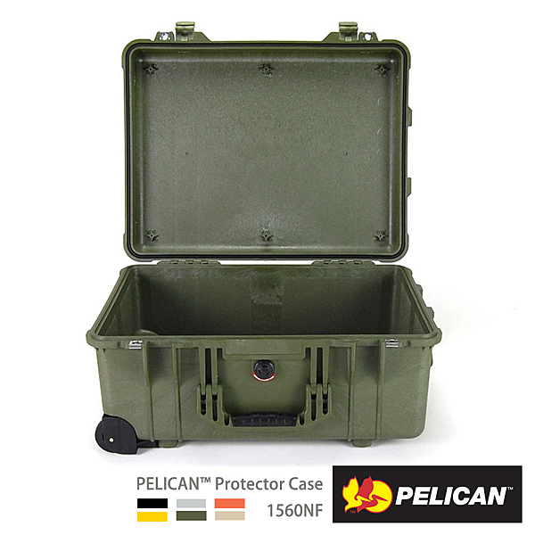 美國 PELICAN 派力肯 塘鵝 1560NF 輪座氣密箱 空箱 不含泡棉 綠色 公司貨