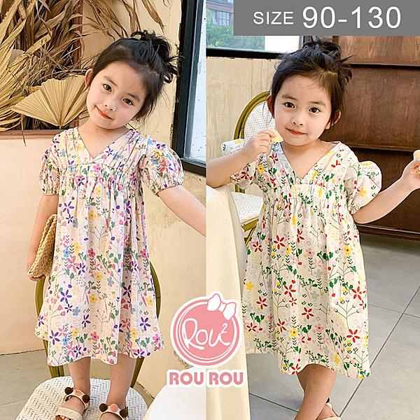 韓版女童洋裝。ROUROU童裝。夏女童中小童100%棉短袖V領碎花洋裝 0226-231
