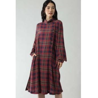 【ローズバッド/ROSEBUD】 CHECK PRINT BUTTON DRESS