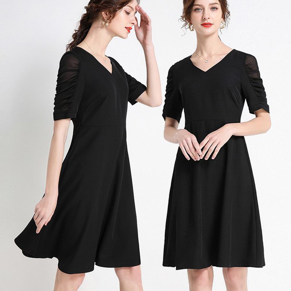 【麗質達人】DD23250黑色雪紡袖洋裝(L-5XL)