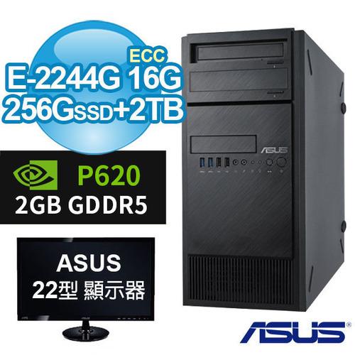 ASUS 22型螢幕+華碩 WS690T 商用工作站 E-2244G/ECC 16G/256G SSD+2TB/P620 2G/WIN10專業版/三年保固