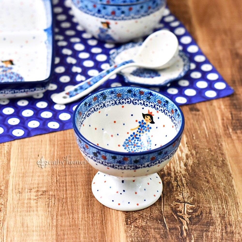 凱西生活 手工波蘭陶-冰淇淋杯 11cm #2285X 冰淇淋 小碗 甜點碗 高腳杯 造型碗 造型杯 小菜