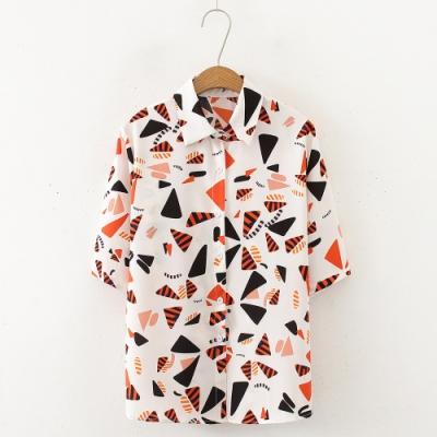 【韓國K.W.】(預購) 歐洲站夏日時光短袖襯衫上衣