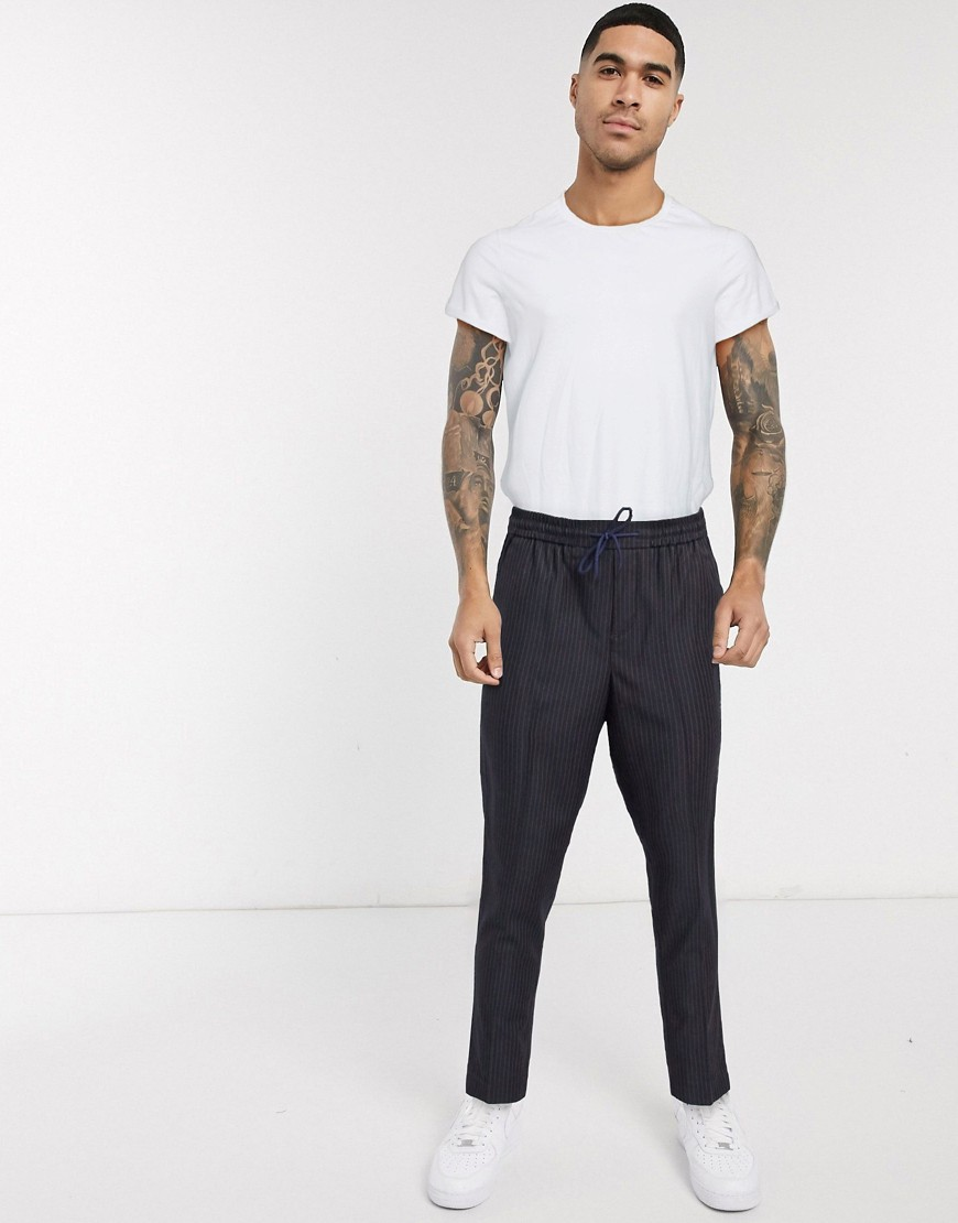 New Look slim fit cropped trousers in navy pinstripe