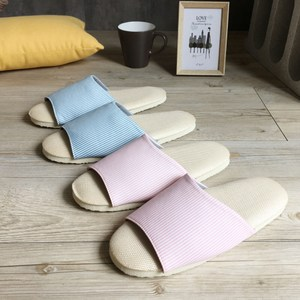 【iSlippers】療癒系-舒活草蓆室內拖鞋-直條淺藍直條-L