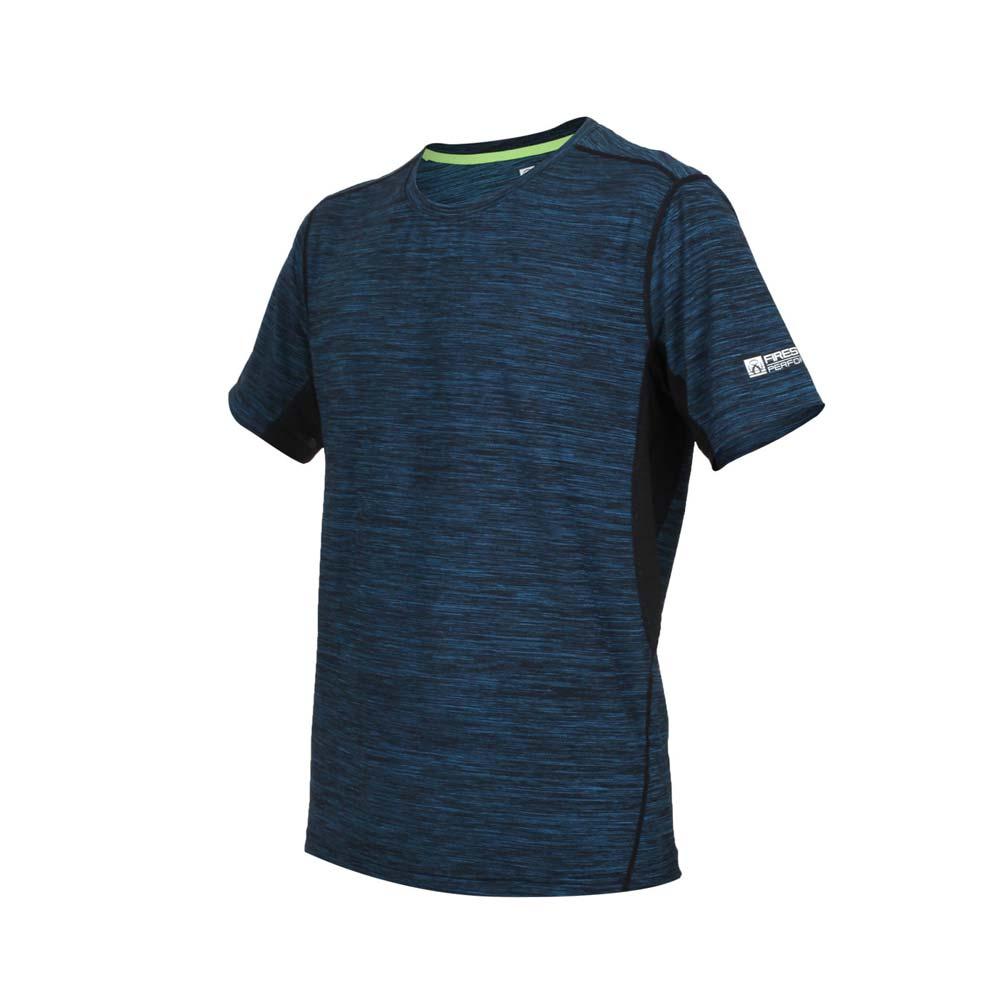 FIRESTAR 男彈性短袖圓領T恤-慢跑 路跑 麻花黑水藍