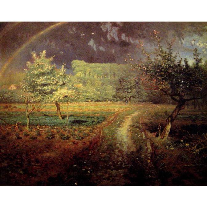 開運陶源 春天 掛畫 -米勒 田園之美名畫 97x77cm 本幅特別裱褙金紋雕花金底原木框 上附壓克力玻璃