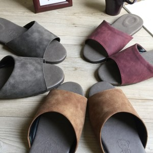 【iSlippers】風格系列-麂皮紋皮質室內拖鞋麂皮灰XL