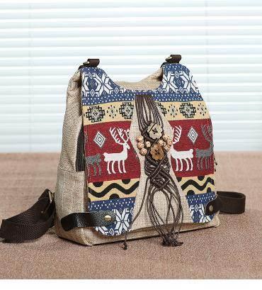 民族風後背包民族風後背包手工編織大容量斜背包旅游背包個性輕便三用女包