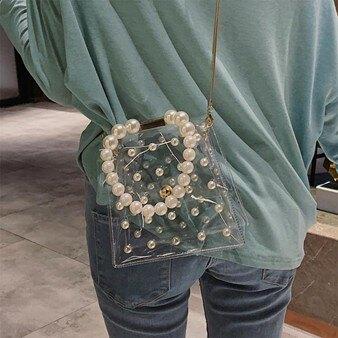 夏季珍珠透明果凍小包包女包新款2020潮鏈條包手提斜背包百搭ins 全館八八折