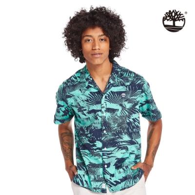 Timberland 男款比斯開灣綠夏日森林府綢短袖襯衫|A2BBD