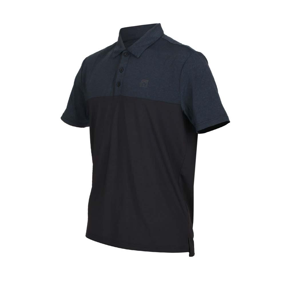 FIRESTAR 男彈性剪接短袖POLO衫-反光 涼感 短袖上衣 高爾夫 網球 羽球 麻花墨藍黑