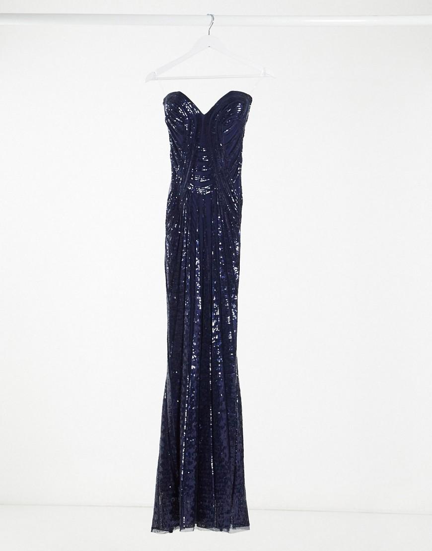 Goddiva bandeau embellished maxi dress with thigh split in navy