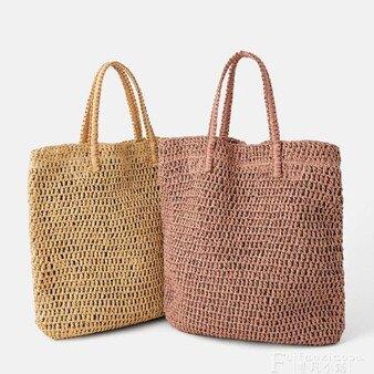 草編包2020新款時尚草編包女單肩手提大容量海邊度假沙灘包手工編織包樂活 全館八八折