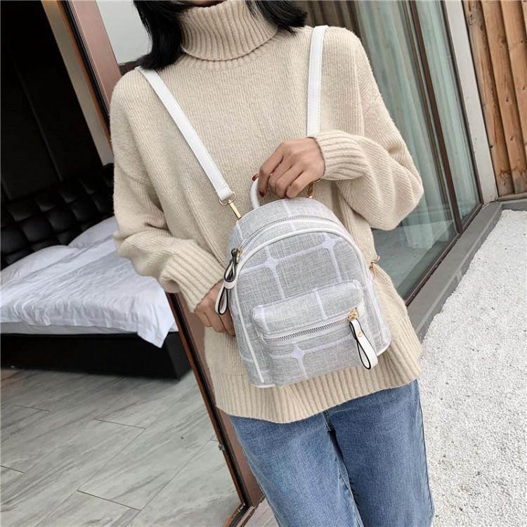 迷你後背包後背包小包女2020新款時尚斜背簡約韓版ins超火百搭帆布迷你書包