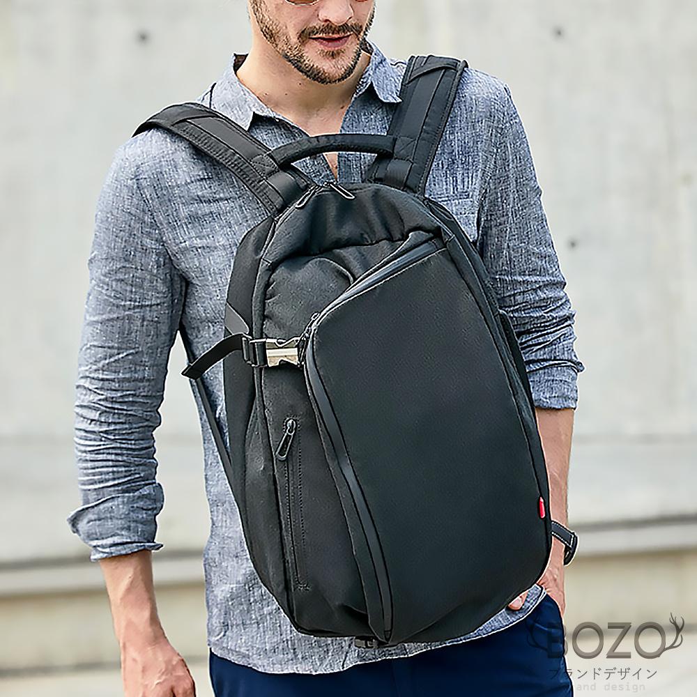 【BOZO伯樂】潮流時尚90度大開口高密度防水型男後背包B6040-經典黑