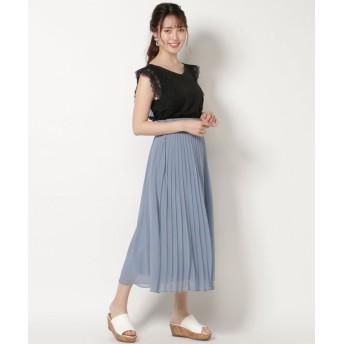 スウィングル 巻き風プリーツマキシスカート レディース ブルー S 【Swingle】