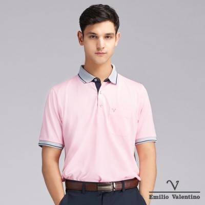 Emilio Valentino范倫鐵諾時尚風潮經典素面POLO衫_粉紅(66-V3136)