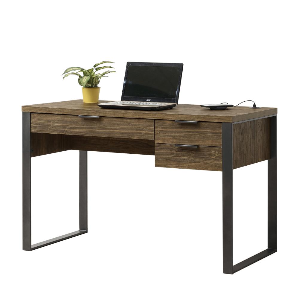 結帳再折_【AT HOME】日式簡約胡桃色4尺USB書桌/工作桌/電腦桌(雅博德)