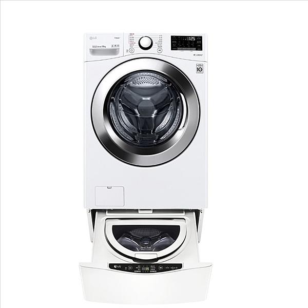 回函贈LG樂金【WD-S18VCW+WT-D250HW】18公斤滾筒蒸洗脫+2.5公斤溫水下層洗衣 優質家電