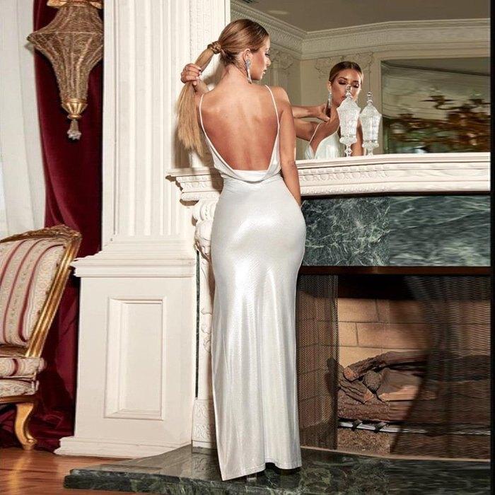 歐美新款性感大露背開衩美腿禮服洋裝 2色 D1736000