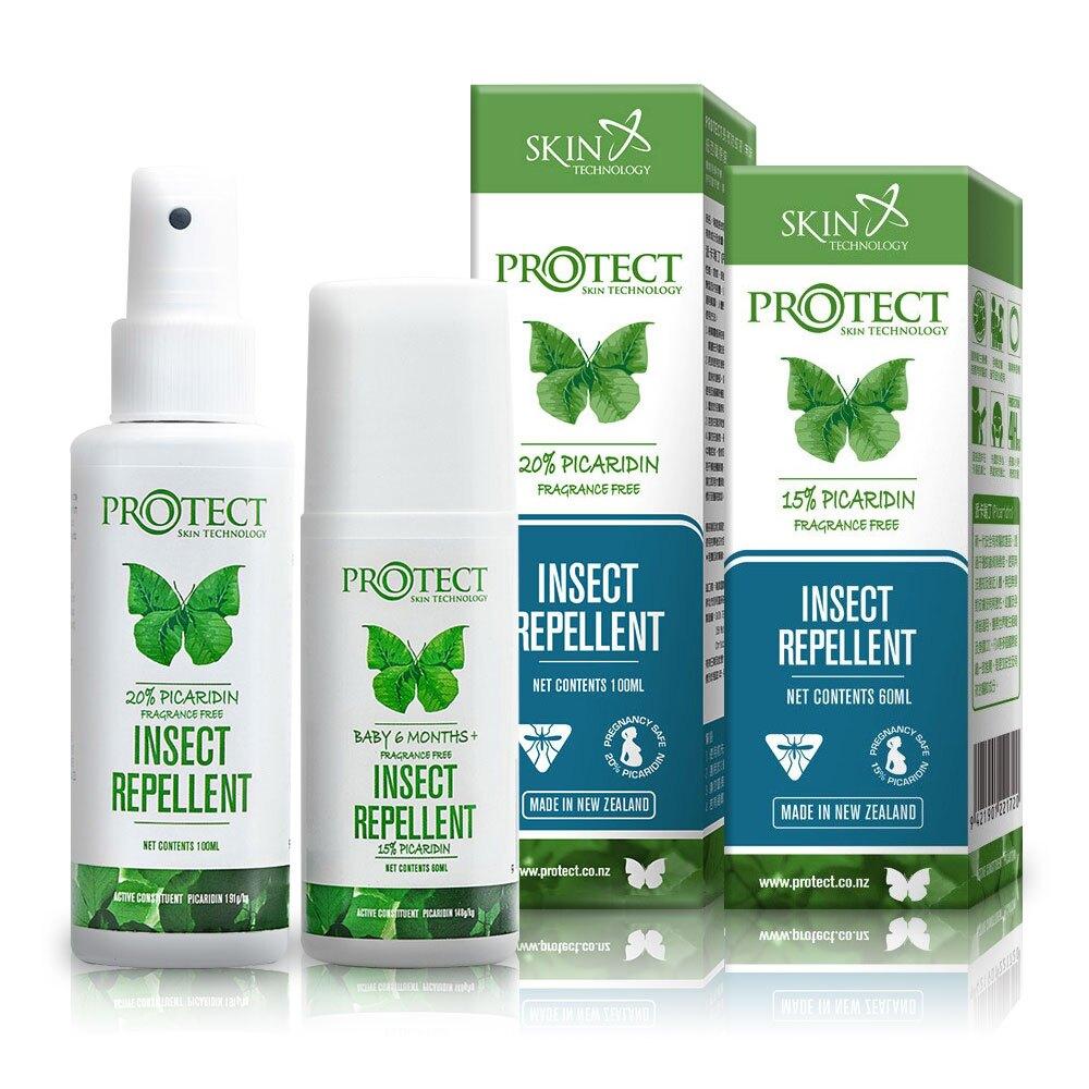 紐西蘭 派卡瑞丁 Picaridin 15%+20% 長效防蚊液-噴霧+滾珠 100ML+60ML (無香精) 專品藥局 【2015521】