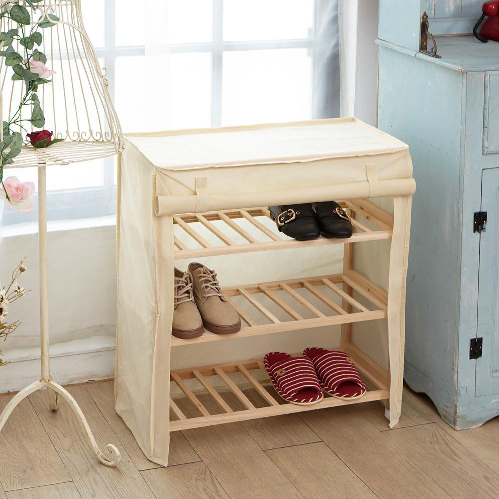 H&R安室家 木製捲簾防塵鞋櫃 BCF51
