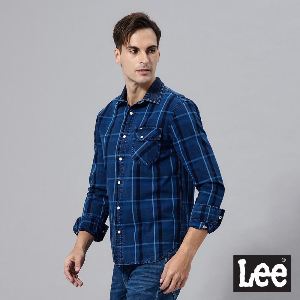 Lee 長袖休閒襯衫 男 藍 格紋 牛仔布領拼接 101+