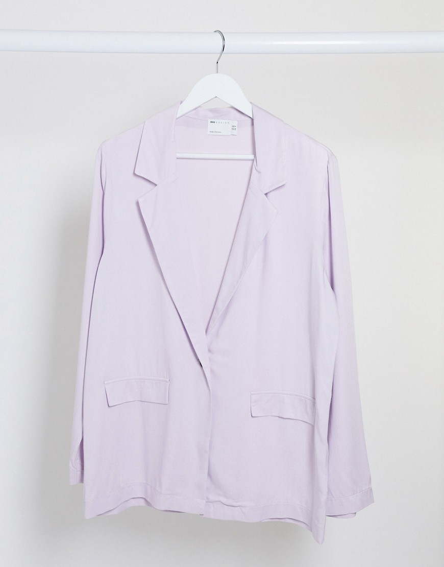 ASOS DESIGN soft dad 3 piece suit blazer in dusty lilac-Purple