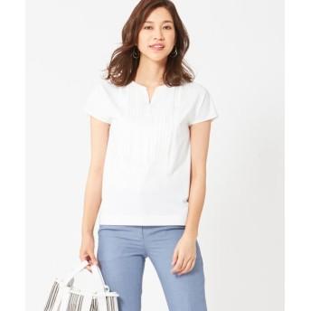 (iCB/アイ シー ビー)Light Fabric Combi 半袖カットソー/レディース ホワイト系