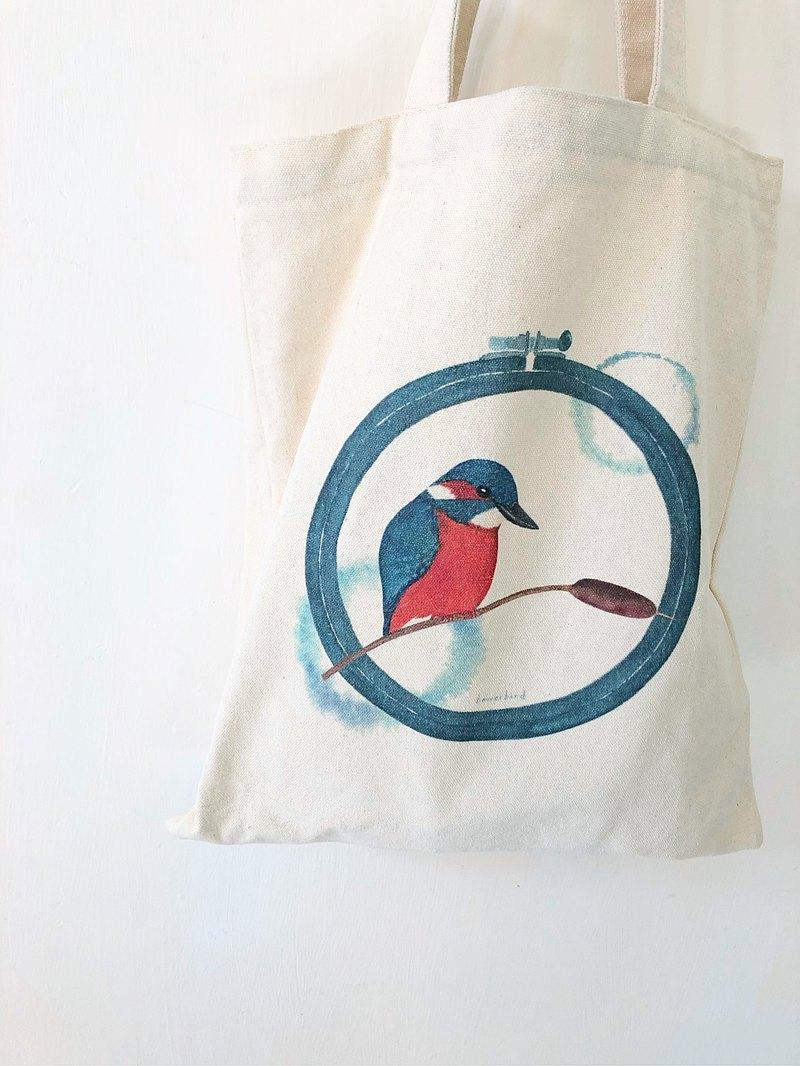 香港野鳥 水彩風翠鳥帆布袋