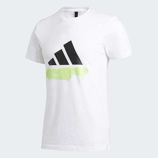 Adidas Badge of Sport男款白色塗鴉風LOGO短袖上衣-NO.FT2826