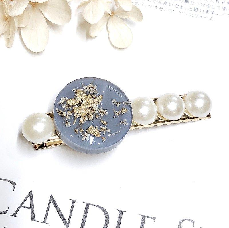 PUREST HOME 日本樹脂 花語 珍珠 手作 髮夾 / 莫蘭迪藍 大款