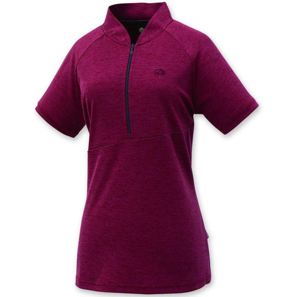 FIT 維特 女吸排短袖立領上衣KS2102-65紫紅色 /吸濕排汗快乾抗紫外線/排汗涼感衣/旅遊/ 野雁戶外