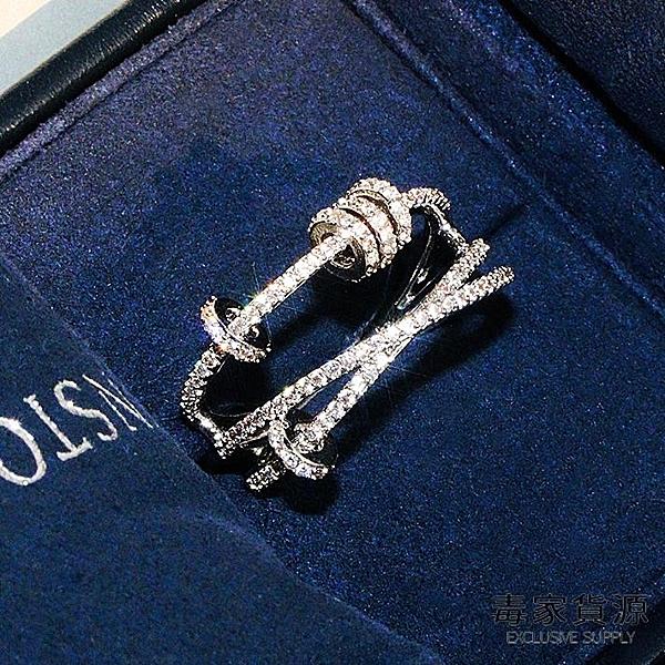 925純銀食指戒指女時尚個性鑲鉆時來運轉指環【毒家貨源】