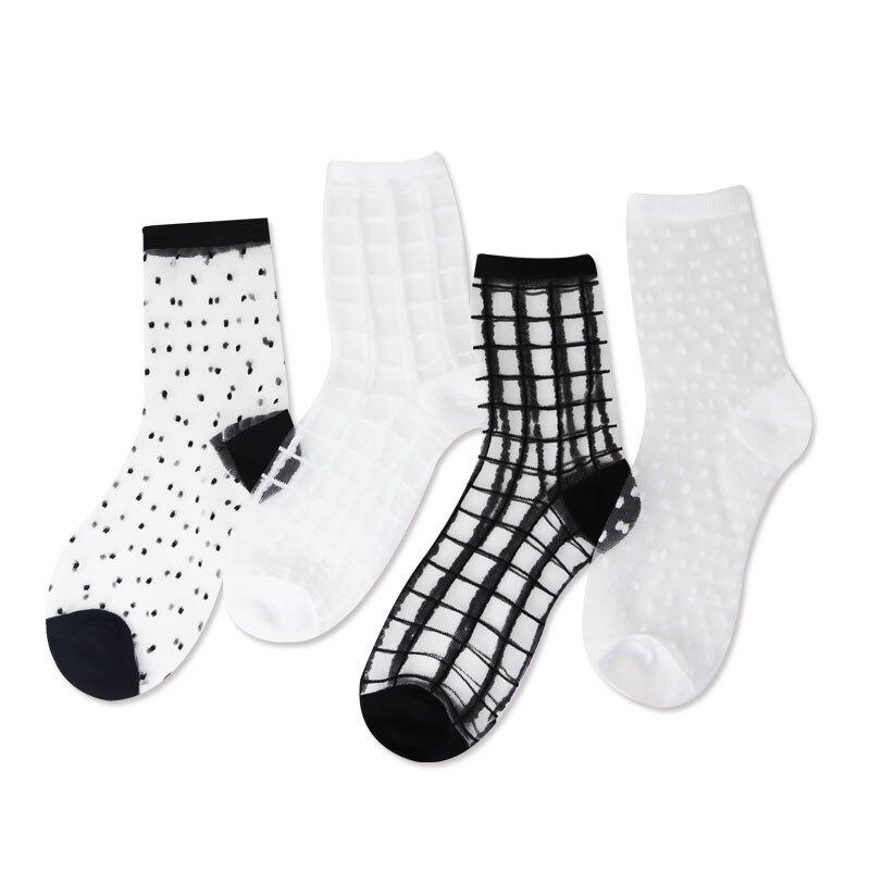 水晶絲襪 台灣出貨 現貨 春夏薄款玻璃絲襪 日韓系 薄款玻璃絲襪  蕾絲透明中筒 親膚舒適柔軟透氣 透明 點點 格子