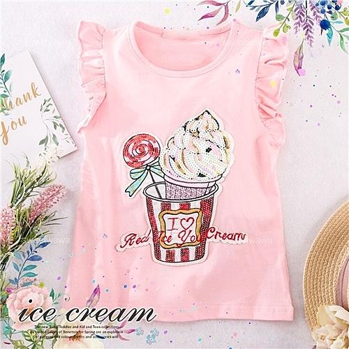 晶彩亮片冰淇淋棒棒糖飛飛袖短袖上衣(290571)【水娃娃時尚童裝】