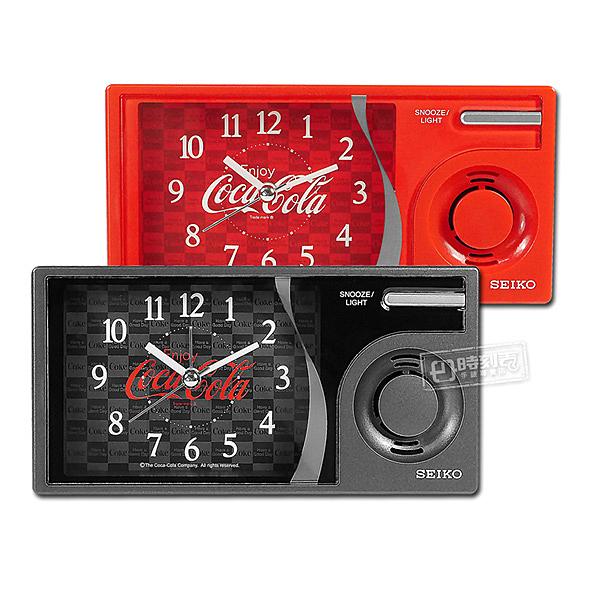 SEIKO 精工 / 可口可樂 滑動式秒針 貪睡鬧鈴 長方形音樂鬧鐘 - 黑/紅 #QHP901