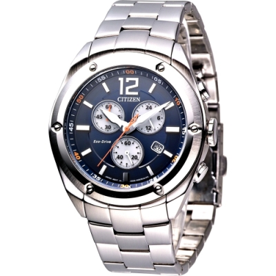 CITIZEN星辰手錶 Eco-Drive 勁風三眼光動能計時男錶-藍(AT0980-63L)/42mm 保固二年