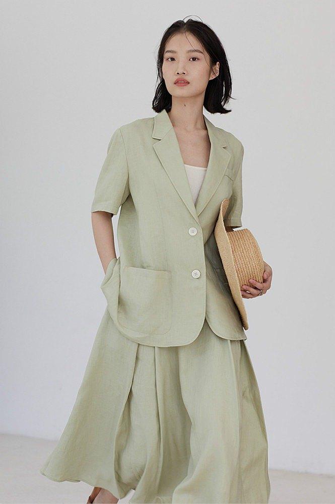 薄荷綠色 風的落點 夏季寬松水洗亞麻短袖西裝 極簡素色防曬外套
