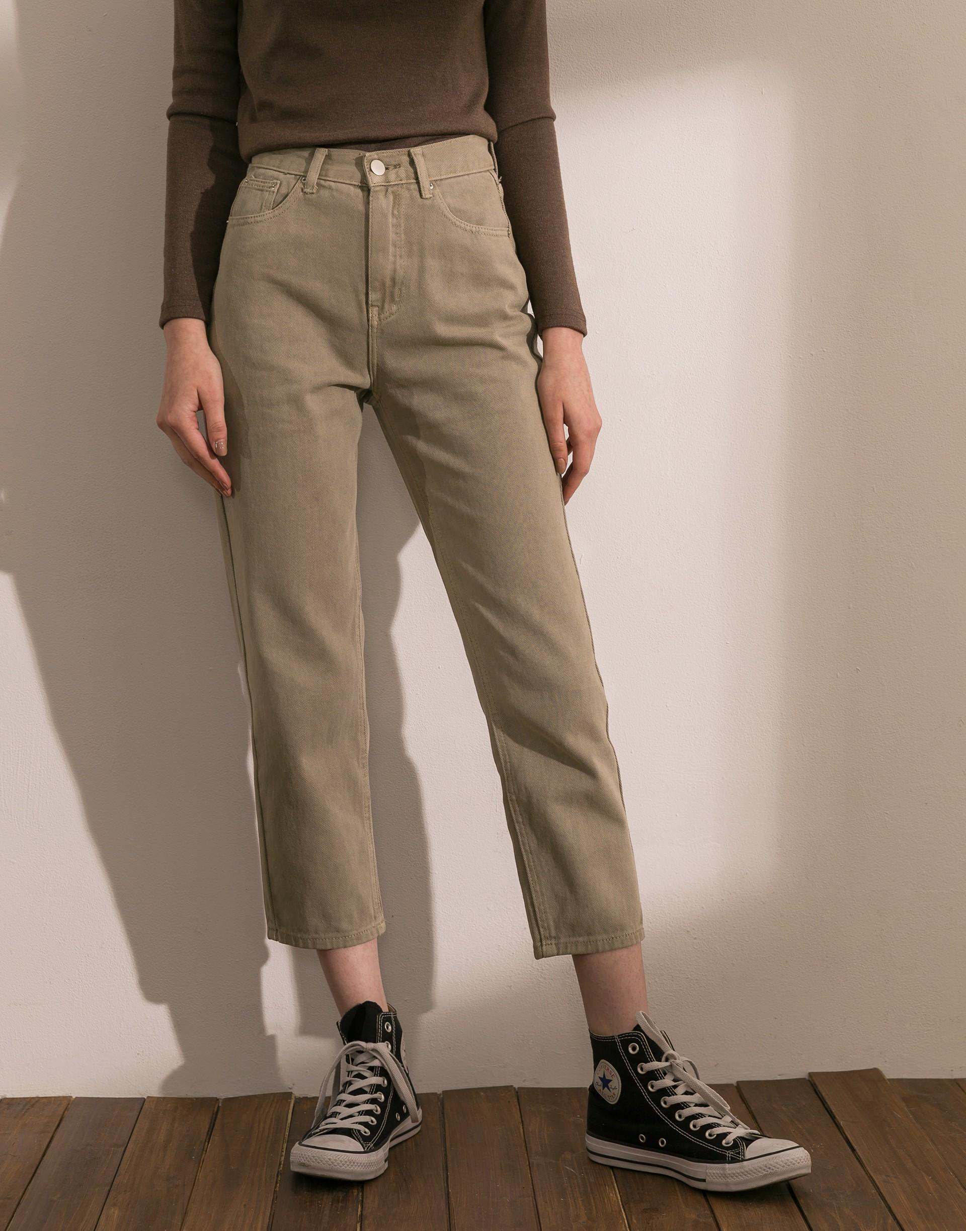 特殊復古刷色牛仔褲-女-Genquo